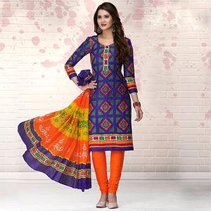 Blue-Orange Colored Casual Printed Pure Cotton Dress Material