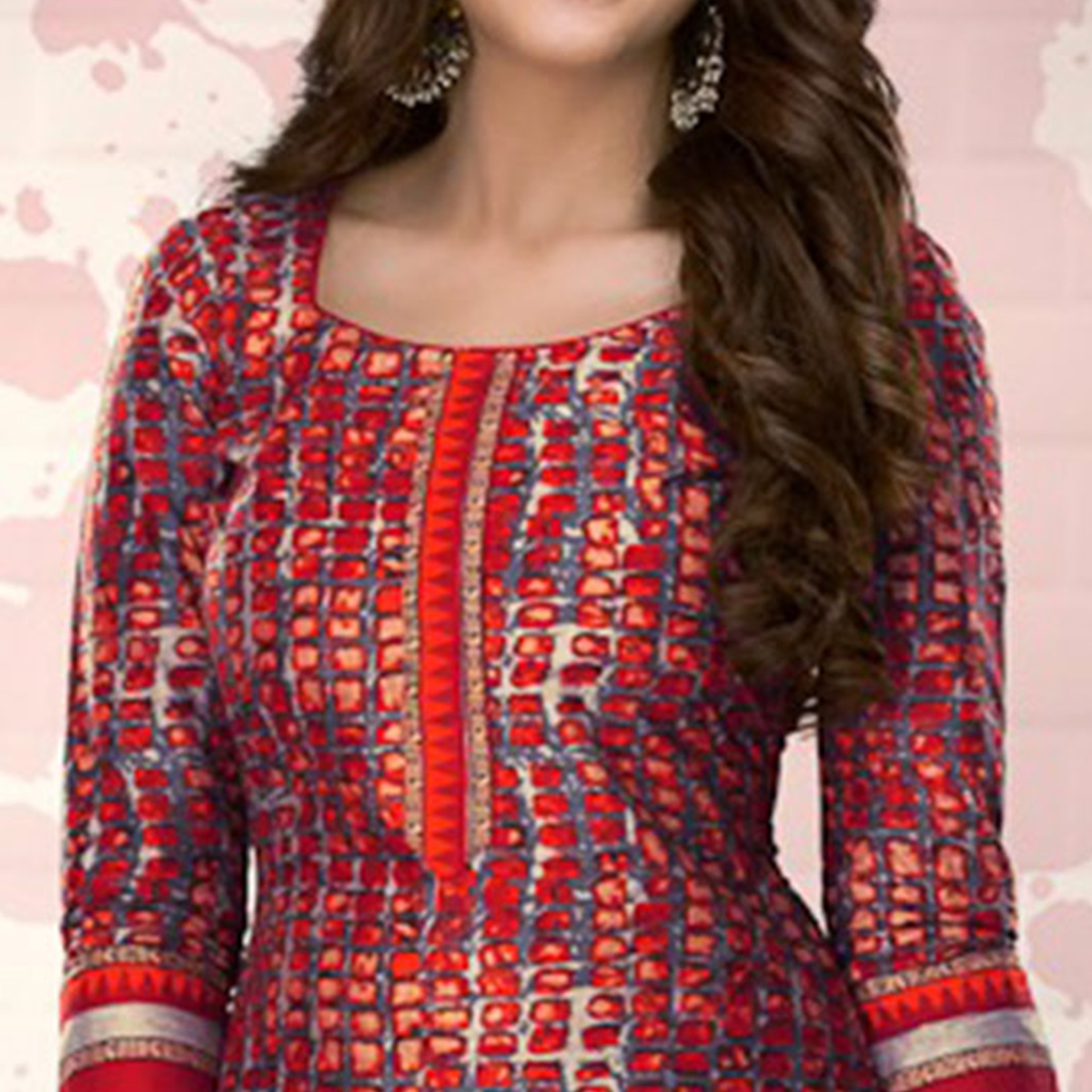 Red Colored Casual Printed Pure Cotton Dress Material