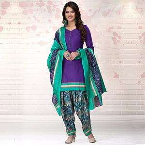 Purple-Green Colored Casual Printed Pure Cotton Dress Material