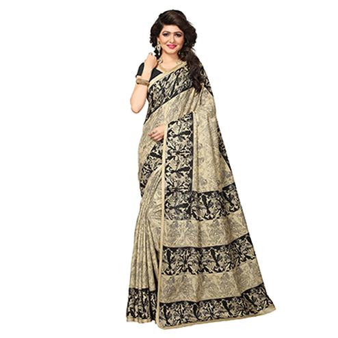Beige - Black Traditional Printed Manipuri Silk Saree