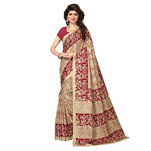 Beige - Maroon Traditional Printed Manipuri Silk Saree