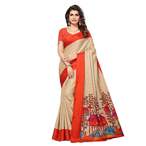 Beige - Orange Casual Printed Manipuri Silk Saree