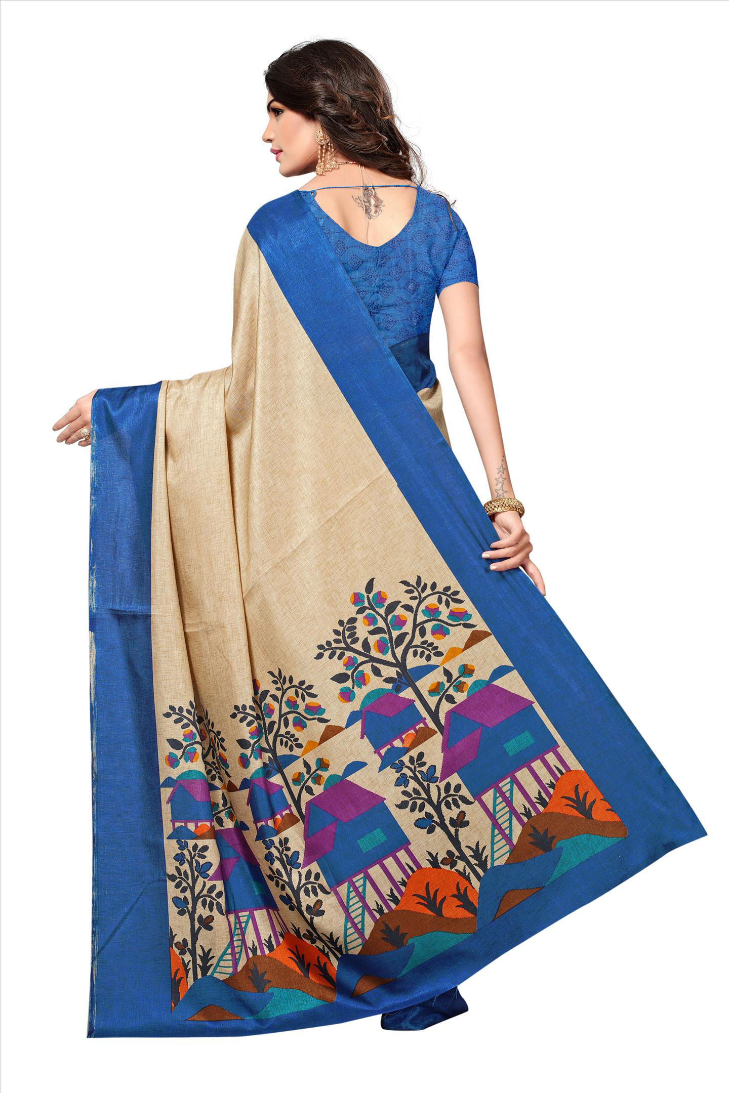 Beige - Blue Casual Printed Manipuri Silk Saree