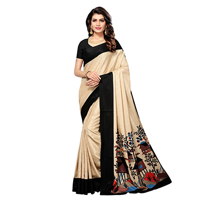 Beige - Black Casual Printed Manipuri Silk Saree