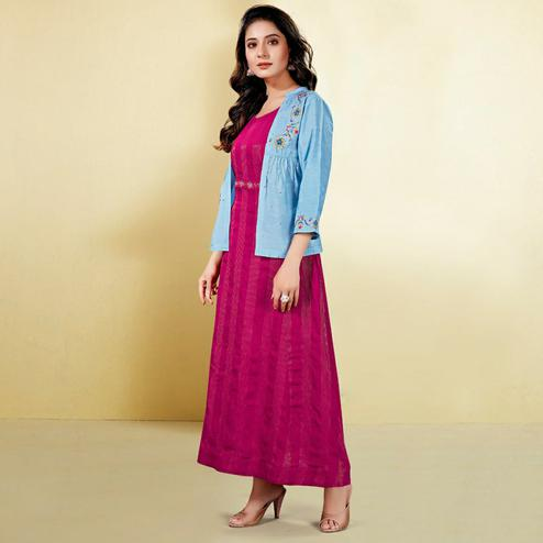Capricious Sky Blue - Pink Colored Partywear Embroidered Cotton Silk Kurti With Jacket