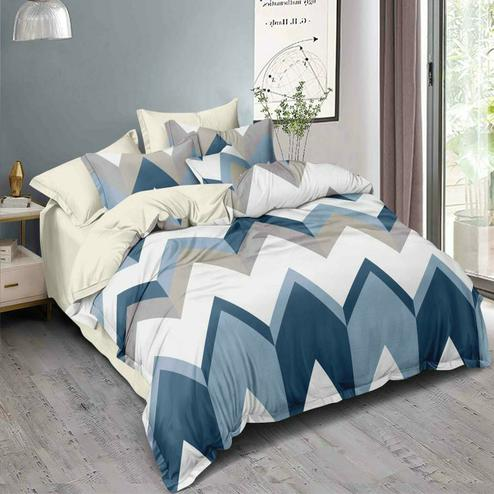 Attractive White - Blue Colored Printed Double Bedsheet With Pillow Cover
