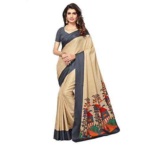 Beige - Grey Casual Printed Manipuri Silk Saree