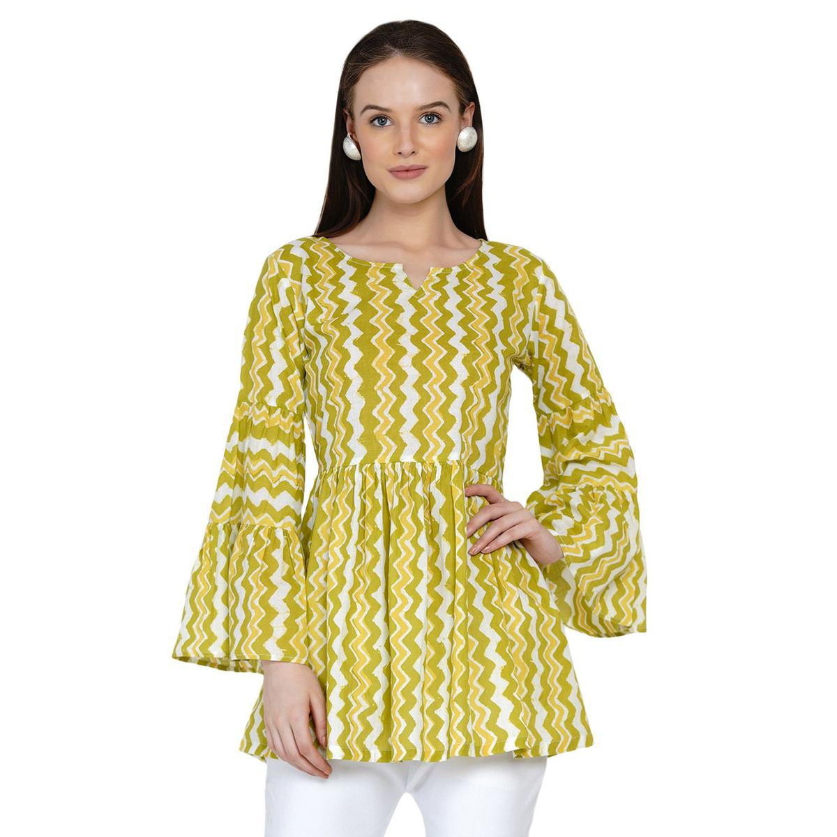Fabnest - Women Lime Chevron Cotton Gathered Top With Tiered Sleeves