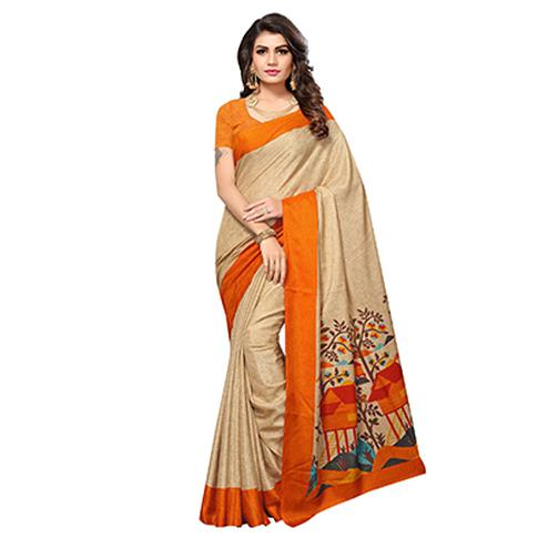 Beige - Yellow Casual Printed Manipuri Silk Saree