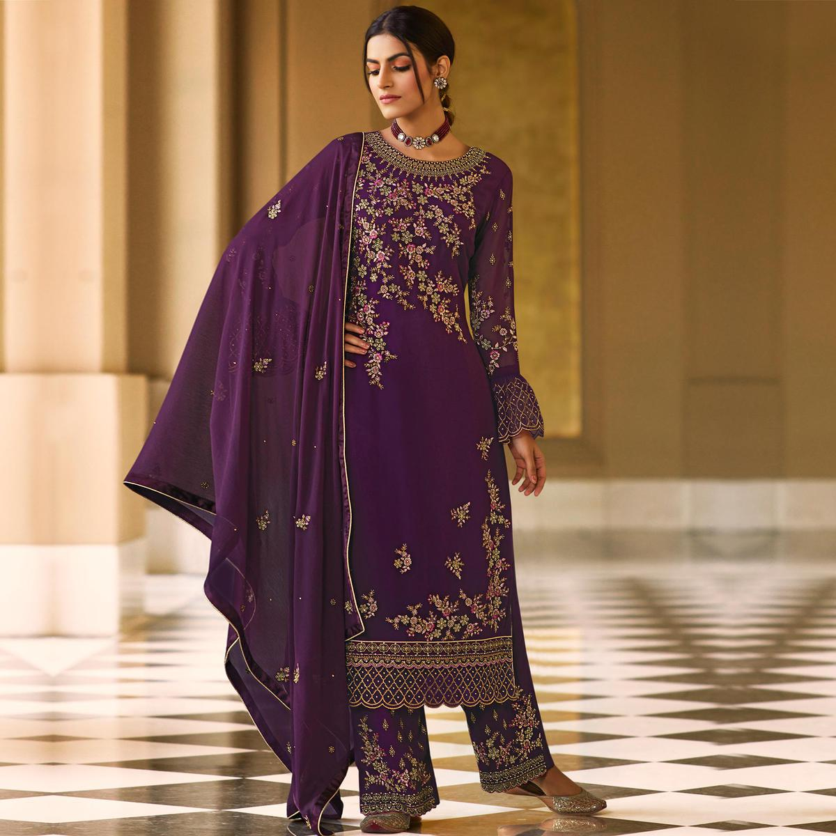Stylee Lifestyle Purple Colored Georgette Embroidered Dress Material