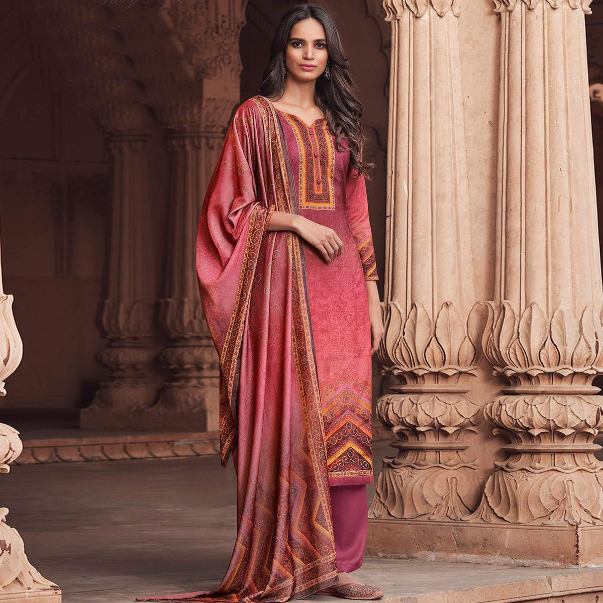 Stylee Lifestyle Magenta Colored Pashmina Printed Dress Material