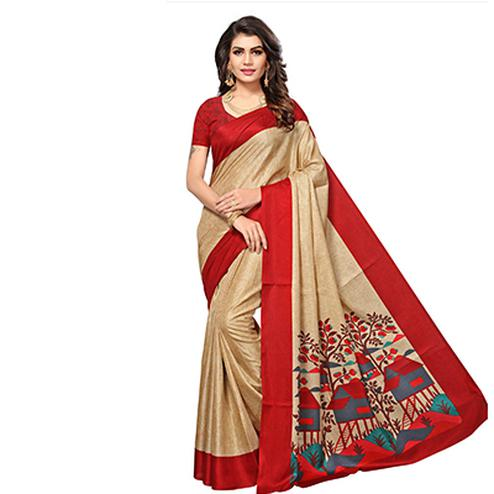 Beige - Red Casual Printed Manipuri Silk Saree
