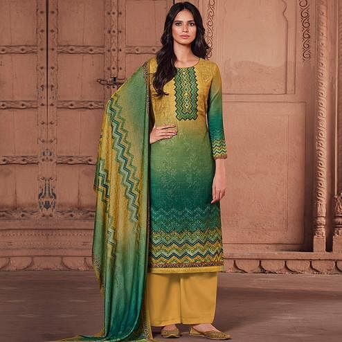 Stylee Lifestyle Yellow Colored Pashmina Printed Dress Material