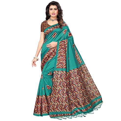 Dark Green Festive Wear Printed Mysore Art Silk Saree