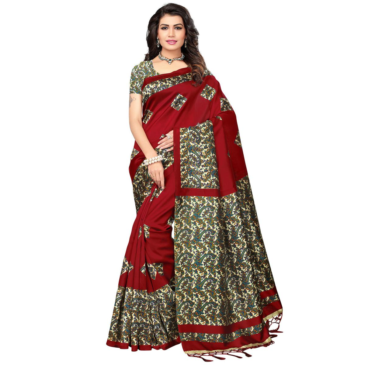 Maroon Festive Wear Printed Mysore Art Silk Saree