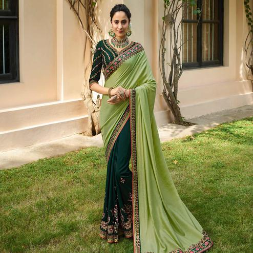 Classy Pista Green Colored Partywear Embroidered Sangam Silk Saree