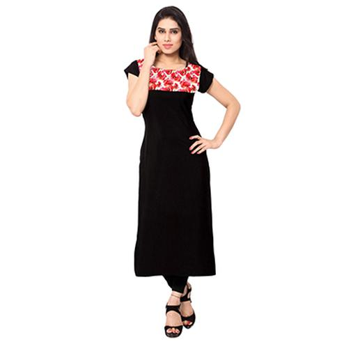 Black - Red Long Length Stitched Kurti