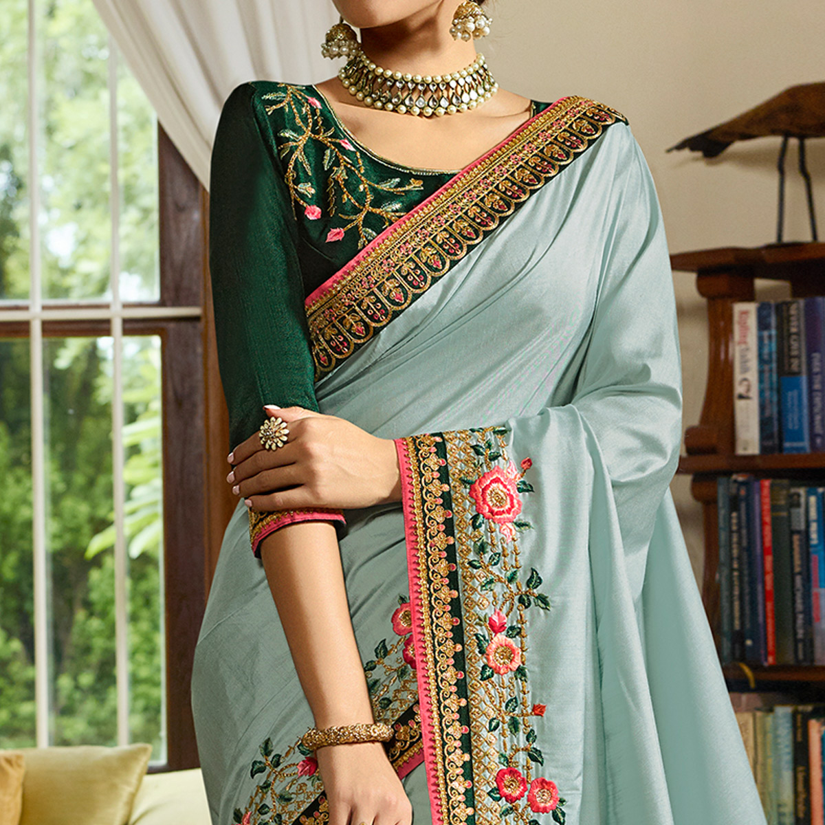 Capricious Dusty Sky Blue Colored Partywear Embroidered Sangam Thai Silk Saree