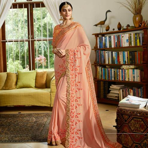 Entrancing Peach Colored Partywear Embroidered Sangam Resham Satin Saree