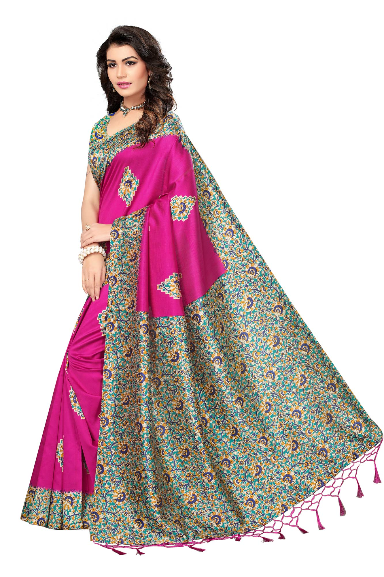 Pink Festive Wear Printed Mysore Art Silk Saree