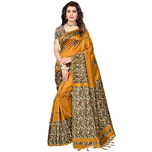 Mustard yellow Festive Wear Printed Mysore Art Silk Saree