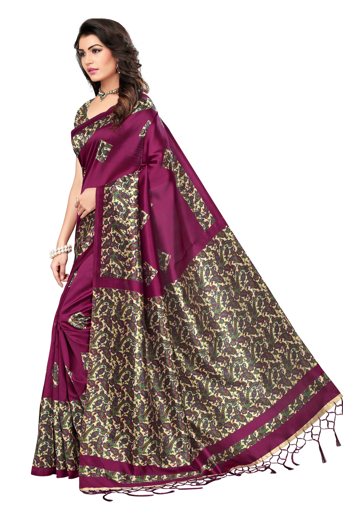 Wine Festive Wear Printed Mysore Art Silk Saree