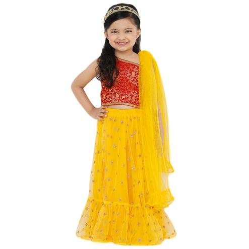 Salwar Studio - Kid's Yellow Net Readymade Lehenga Choli