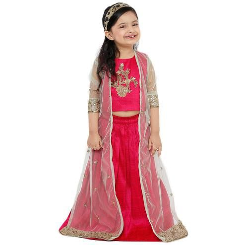 Salwar Studio - Kid's Pink Art Silk Readymade Lehenga Choli With Net Jacket