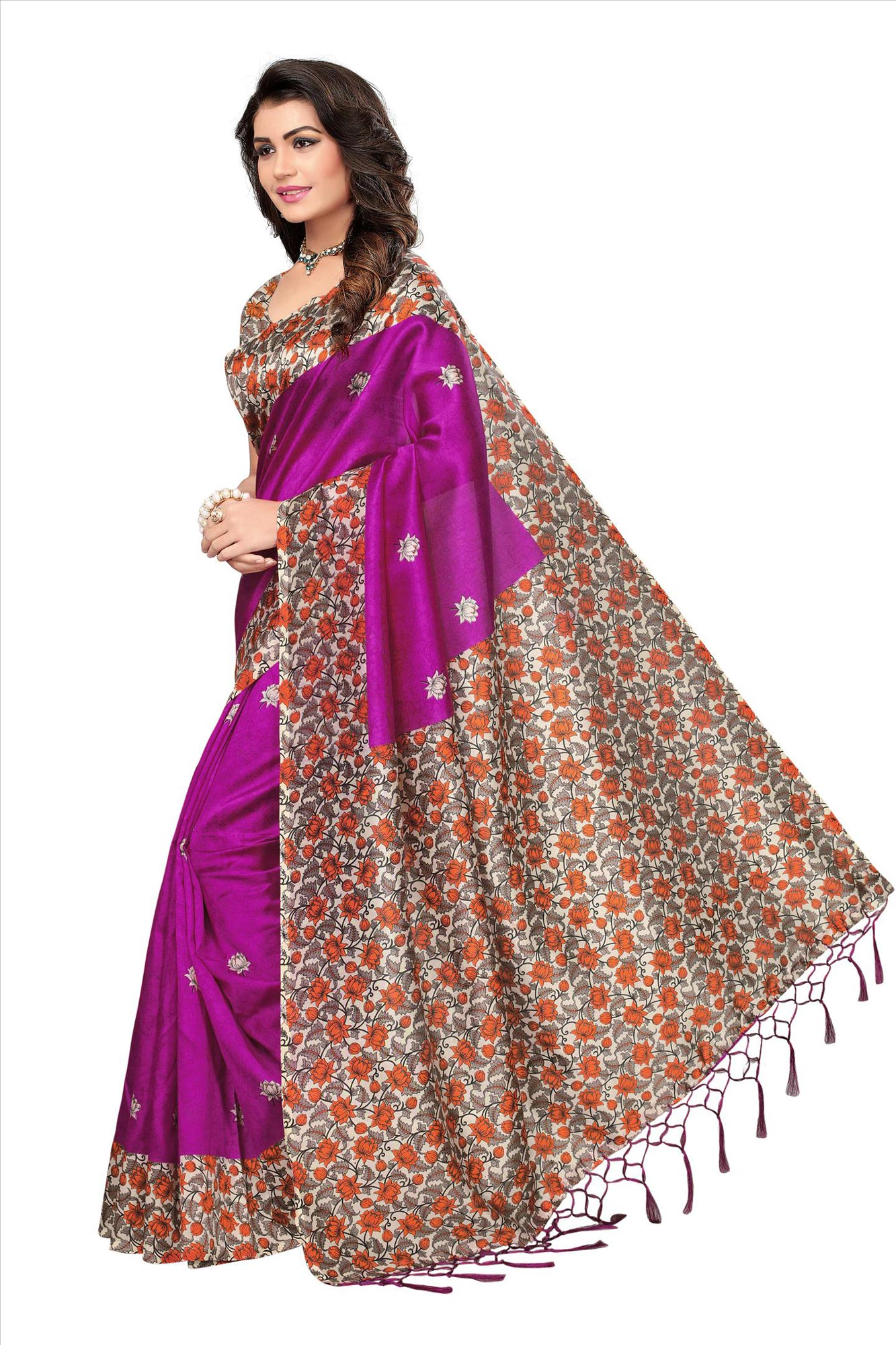 Magenta Festive Wear Printed Mysore Art Silk Saree