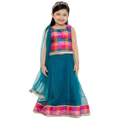 Salwar Studio - Kid's Rama Green Net Readymade Lehenga Choli