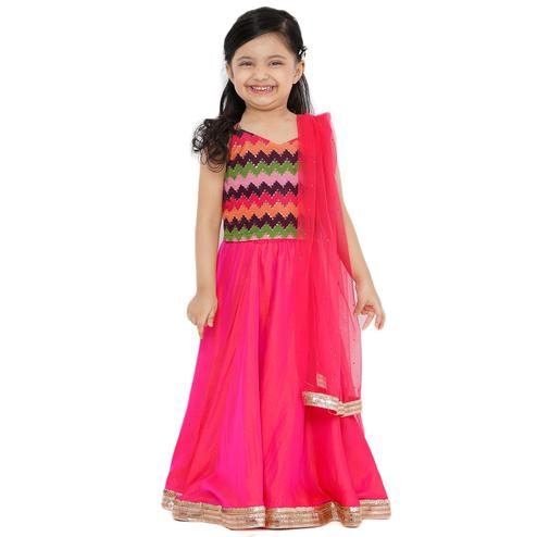 Salwar Studio - Kid's Pink Art Silk Readymade Lehenga Choli