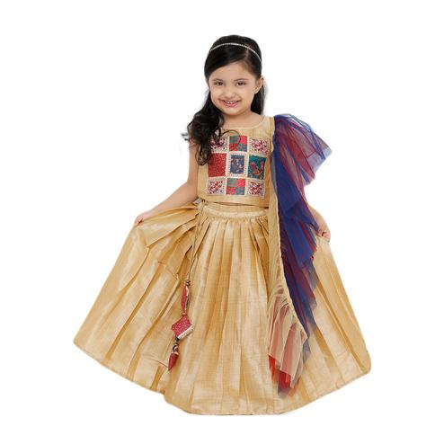 Salwar Studio - Kid's Off White Art Silk Readymade Lehenga Choli