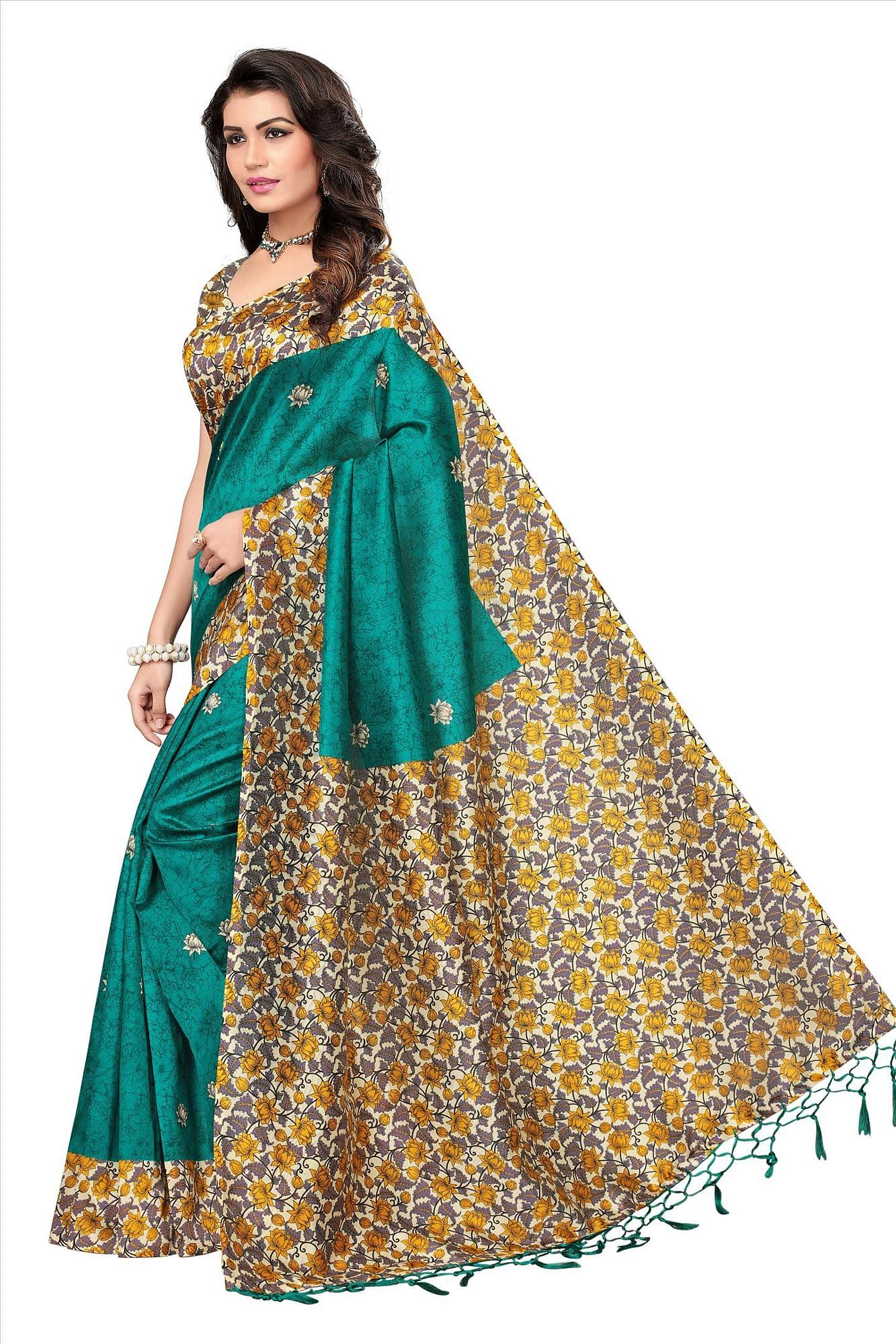 Rama Green Festive Wear Printed Mysore Art Silk Saree