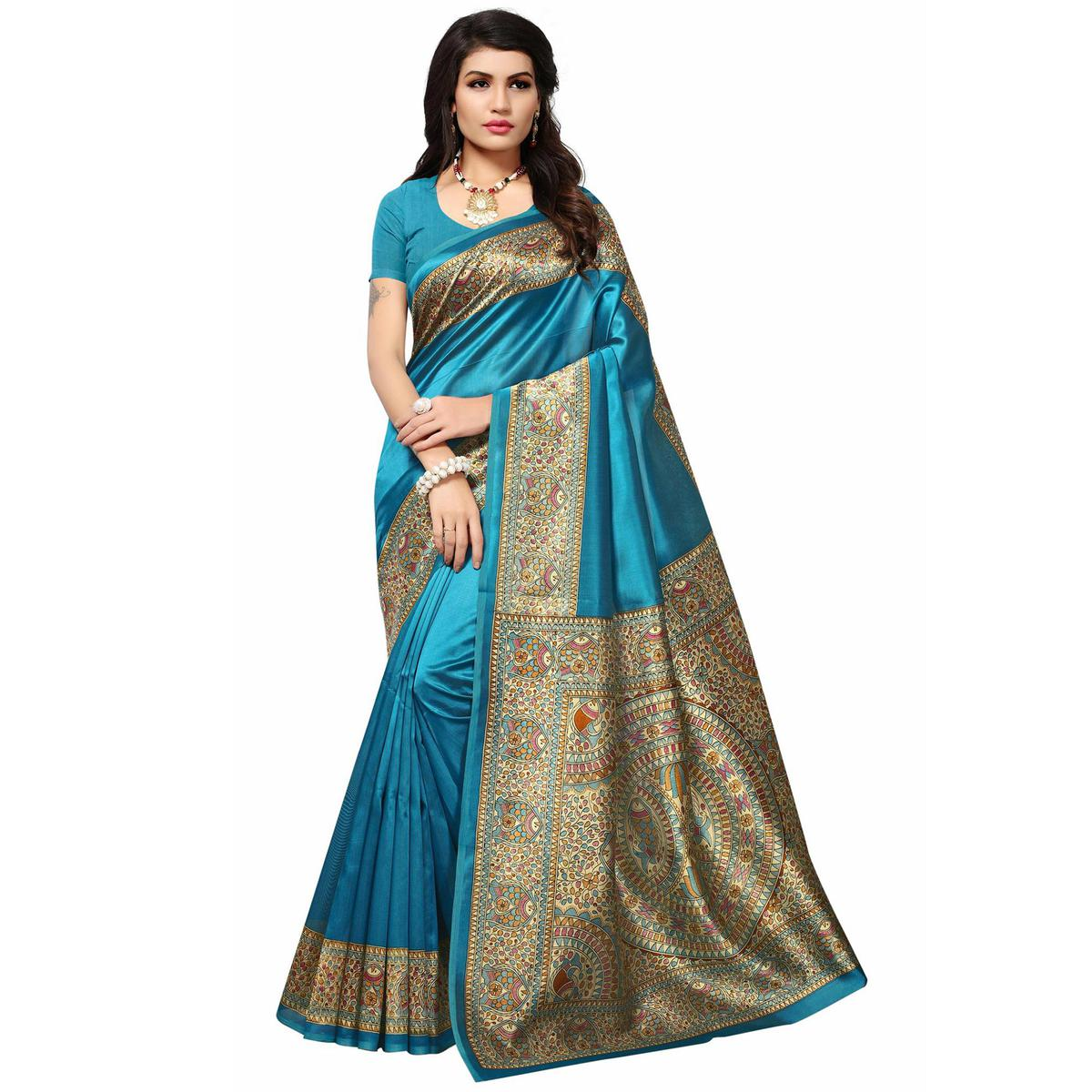 Blue Festive Wear Kalamkari Printed Mysore Art Silk Saree