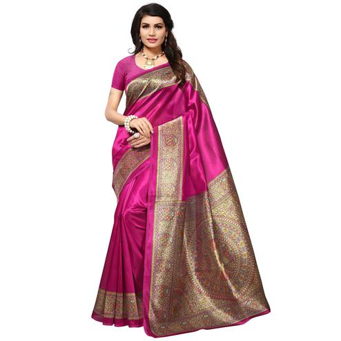 Dark Pink Festive Wear Kalamkari Printed Mysore Art Silk Saree