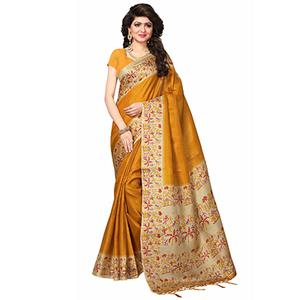 Mustard Yellow Casual Printed Khadi Silk Saree With Tassels