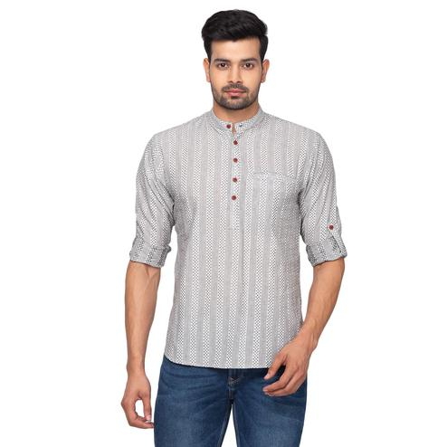 Salwar Studio - Men's Cotton White & Grey Printed Short Length Kurta