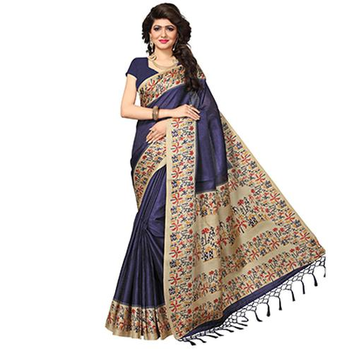 Navy Blue Casual Printed Khadi Silk Saree With Tassels