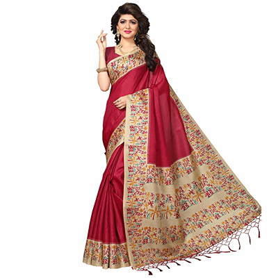 Red Casual Printed Khadi Silk Saree With Tassels