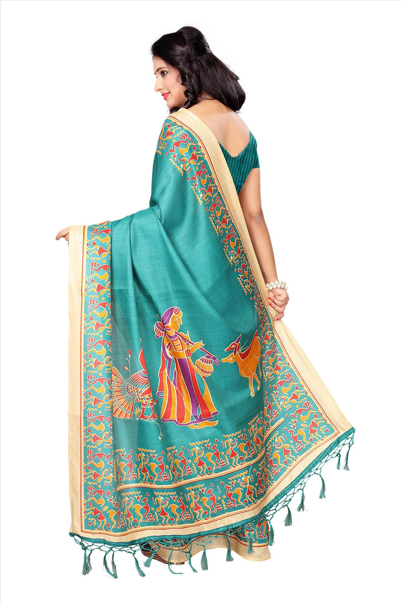 Sea Green Casual Printed Khadi Silk Saree With Tassels