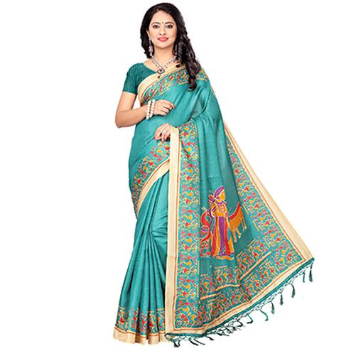 Sea Blue Casual Printed Khadi Silk Saree With Tassels