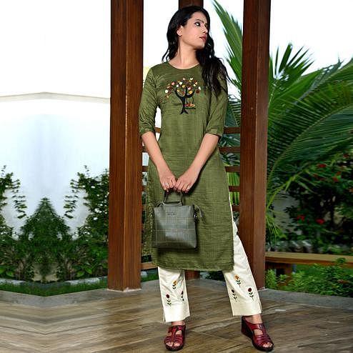 Imposing Dark Olive Colored All Season Regular Embroidery Hand Work Green Maska Lining Silk Fancy Kurti Pant Set