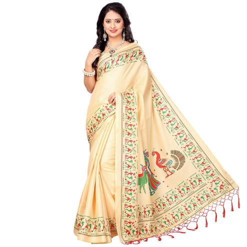 Cream Casual Printed Khadi Silk Saree With Tassels