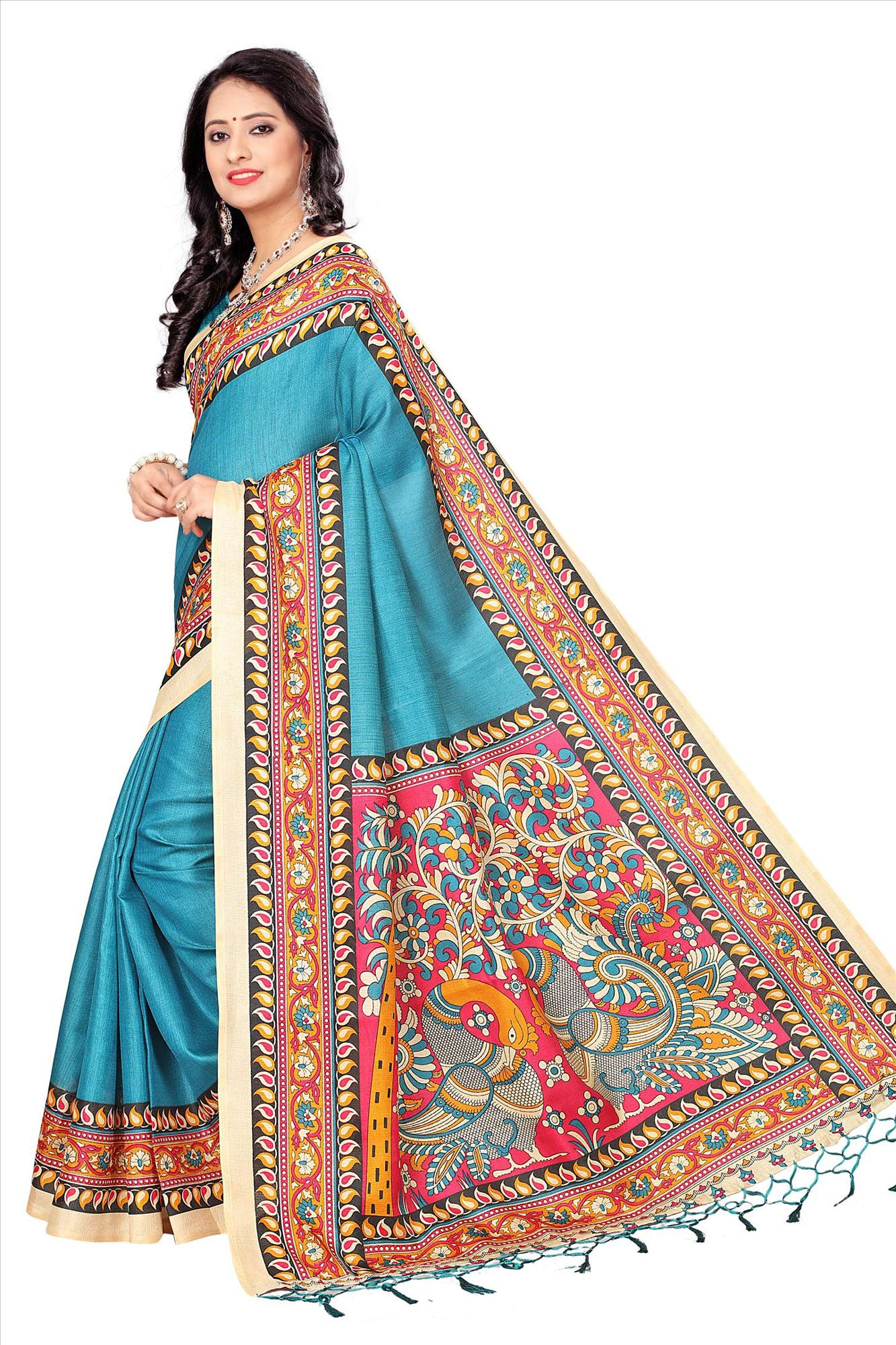 Sky Blue Casual Printed Khadi Silk Saree With Tassels