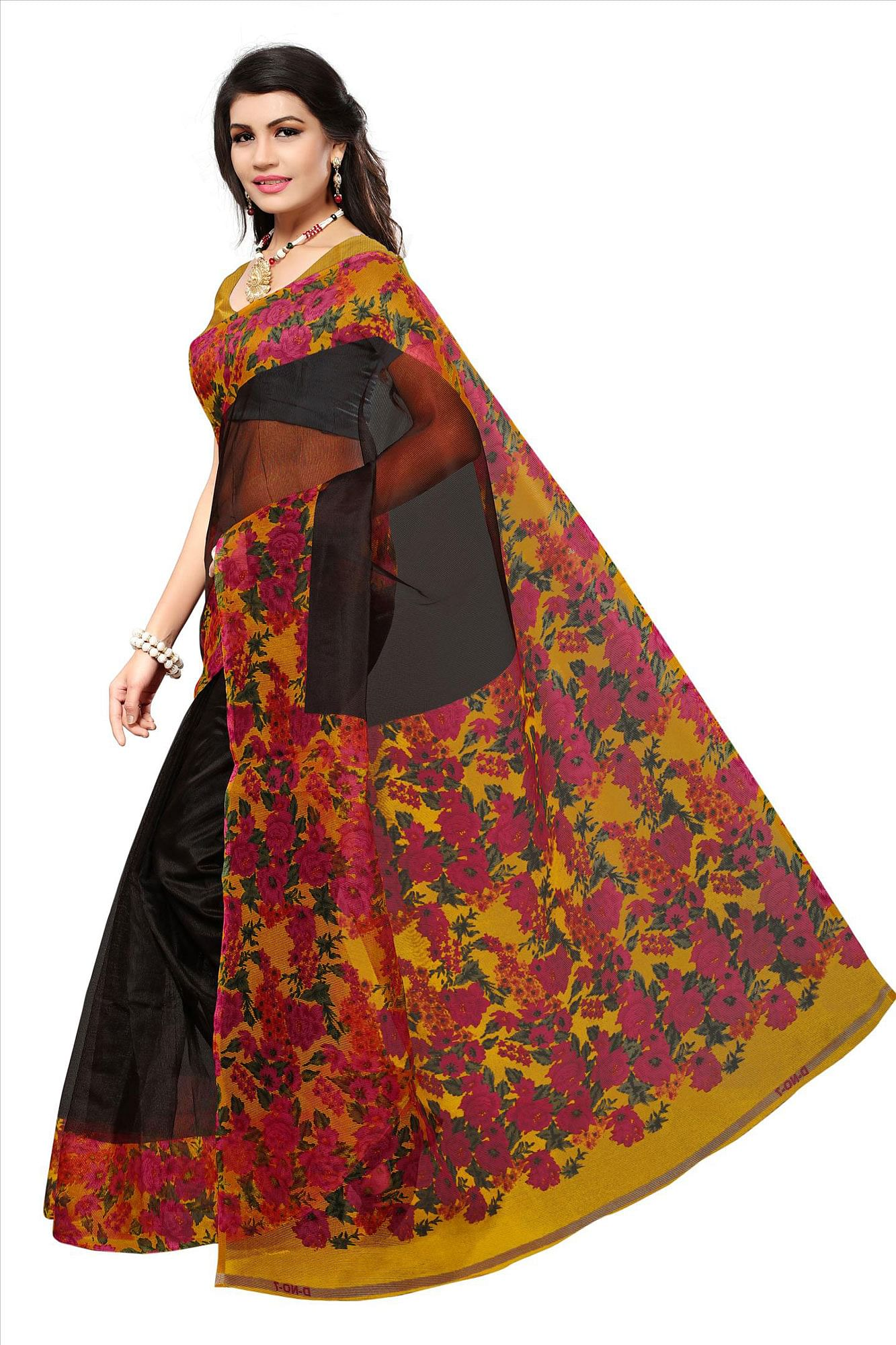 Black Casual Printed Kota Doria Silk Saree