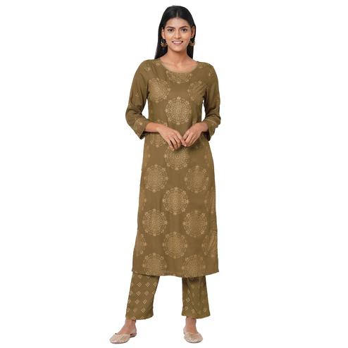 Glorious Mehandi Coloured Casual Wear Printed Rayon Kurti