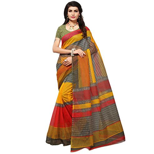 Multicolored Casual Printed Kota Doria Silk Saree