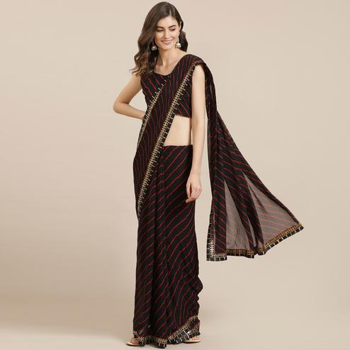 Desirable Black Coloured Partywear Printed Georgette Saree