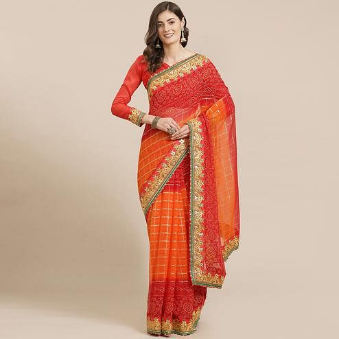 Exotic Pink & Orange Coloured Partywear Embroidered Georgette Saree