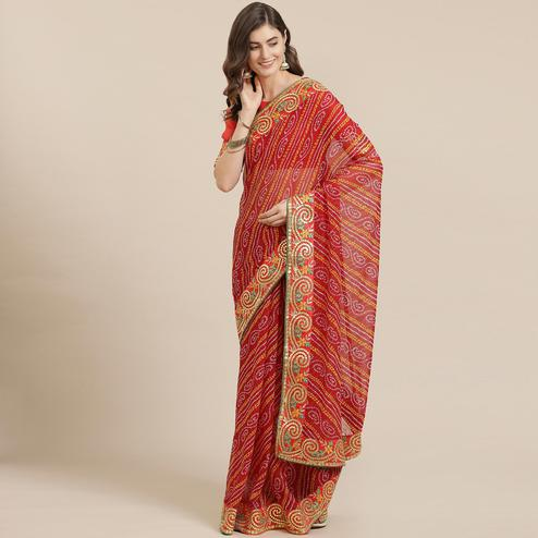 Trendy Red Coloured Partywear Printed Georgette Saree